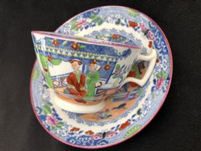 S & J RATHBONE 'Tea house' pattern cup & saucer
